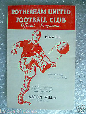 1961 ROTHERHAM UNITED v ASTON VILLA, 22nd Aug - 1st League Cup Final