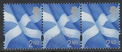 GB Stamps 2000, 2nd Blue+Silver, Scotland Regionals x3, VFU from FDC, S/G S98