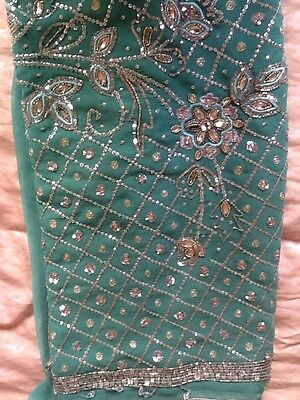 Designer Indian Pakistani Jade Green Silver Detail New Saree With Two Blouses
