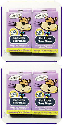4Xpacks=100 Bags Of Cat Litter Tray Liners/easy & Hygienic Pets Waste Disposal