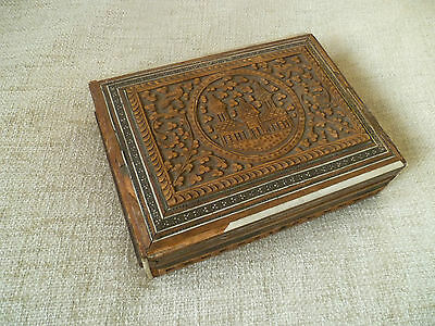 antique indian hand carved taj mahal made wood inlay box