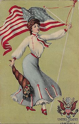 Postcard - Patriotic - Woman with American Flag