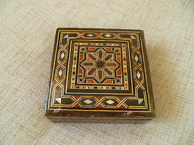 vintage middle eastern arabic islamic inlaid marquetry wood box