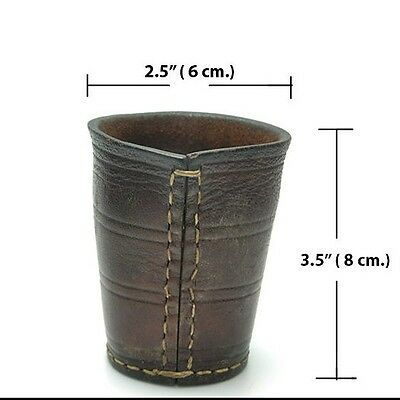 Vintage Brown Stitched Leather Dice Shaker Cup HTF Rare collection Antique game