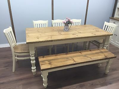 Farmhouse Shabby Chic Rustic 6ft Dining Table Chairs Bench Oak Pine 8 Seater 1 495 00 Picclick Uk