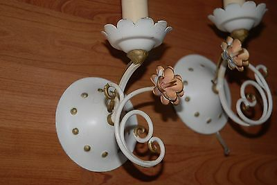 Lovely Pair Vintage Wrought Iron Floral Wall Sconces