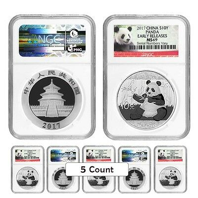 PRESALE - Lot of 5 - 2017 30 gram Chinese Silver Panda 10 Yuan NGC MS 69 Early R