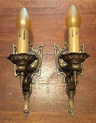 Solid brass original patina Spanish revival arts and crafts style Wired Sconces