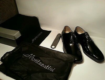 New Montecatini Black Patent Leather Shiny Formal Dress Mens Shoes Size 12