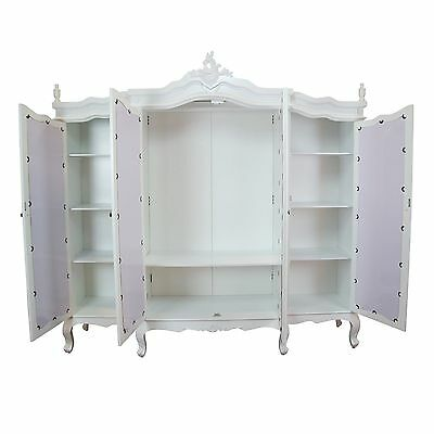 French White Triple Mirrored Door Armoire - FACTORY SECONDS