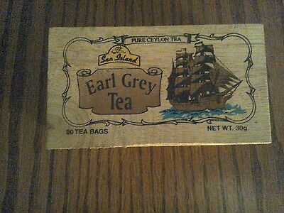 Wooden Box with Sliding cover for Earl Grey Tea, Sailing ship