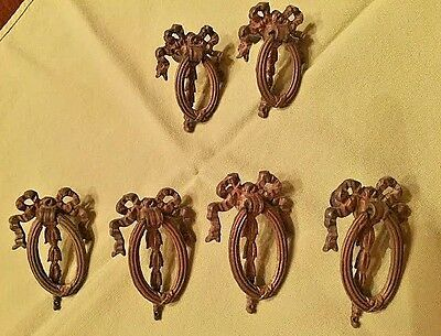 Antique Ornate Bow Brass Drawer Pull Hardware