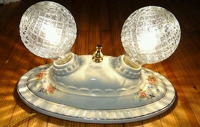 Antique vintage porcelain Porcelier floral 2 bulb ceiling light fixture