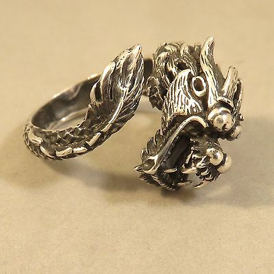.925 Sterling Silver Large WRAP AROUND DRAGON RING NEW Fantasy Biker 925 RB05