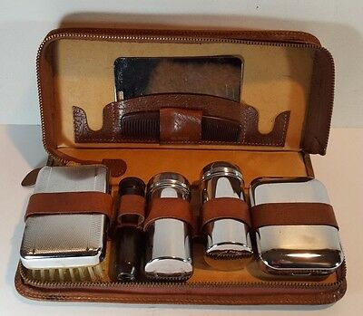 Vintage Gentleman's Leather Cased Chrome Moustache Vanity Grooming Kit c1940