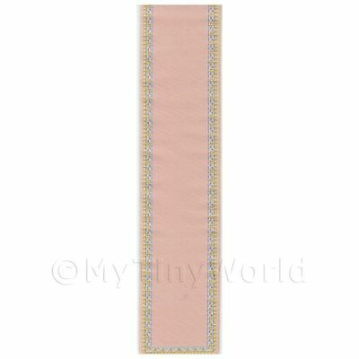 Dolls House Miniature Large Pink/beige Stair Runner With Floral Border (lr1)
