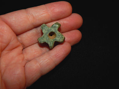 Pre-Columbian Gear Shaped Jade Bead, Central America, Authentic, Rare