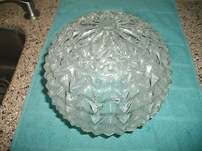 Vintage Glass Crystal Round Globe Hollywood Regency Ceiling Light Fixture