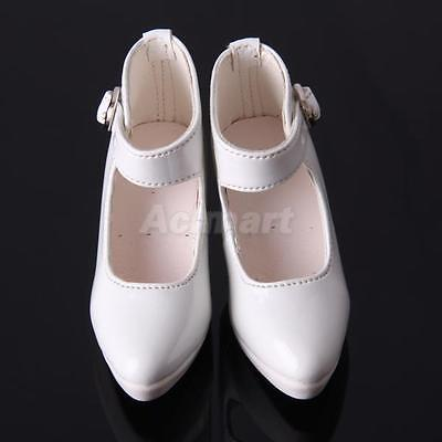 White PU leather High Heel Shoes for 1/3 BJD Doll Luts AOD DOD Supper Dollfies