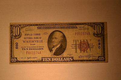 Waterville, ME - $10 1929 Ty. 1 The Peoples-Ticonic NB Ch. # 880. Very Good-Fine