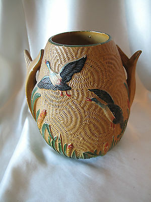 19th CENTURY SYLVAC VASE HAND MADE & PAINTED  WITH FLYING DUCKS