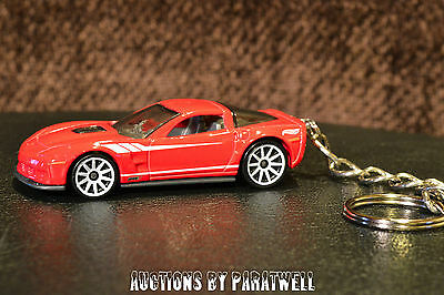 Custom '09 '10 Corvette ZR1 KeyChain Ring FOB Muscle Car Red Porte Cles Llavero
