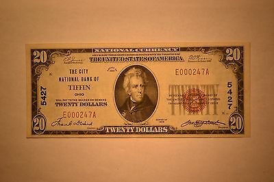Tiffin, OH - $20 1929 Ty. 1 The City NB Ch. # 5427. Bright VF/EF
