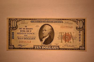 Middletown, OH - $10 1929 Ty. 1 The First & Merchants NB Ch. # 2025.  Nice VF
