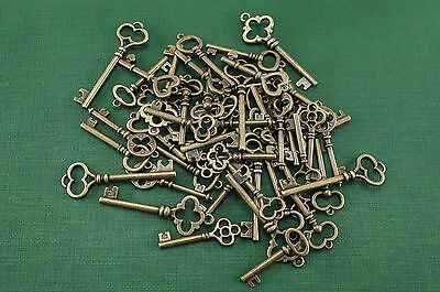 Lot of 50  -  Mixed Antique Bronze Color Vintage Style Key Charms Pendant