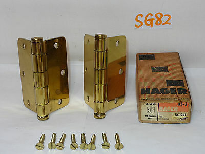 "Vintage Hager Us-3 Pair Of 3 1/2"" X 3 1/2"" Full Mortise Hinges Steel Brass Color"