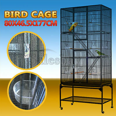 Large Stand-Alone Parrot Aviary Budgie Canary Bird Cage On Wheels 160cm