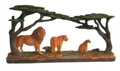 Carved Look Lion Family Figurine