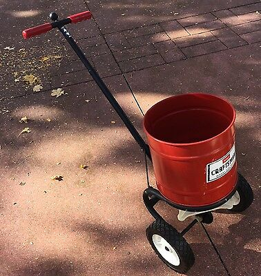 Vintage Sears Craftsman seed/fertilizer spreader Red Metal. ( NEVER USED )