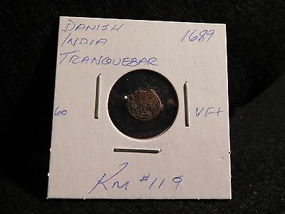 India  Danish Tranquebar : 1689  Kas Cv Coin (Vf.)  (#10)  Km#119