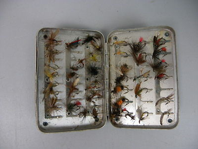 Vintage Small Fishing Flies Lures in Tin Trout Salmon England