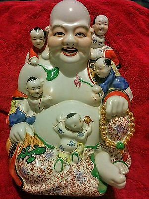 Antique Chinese Porcelain Laughing Buddha Figure w/ 5 Children