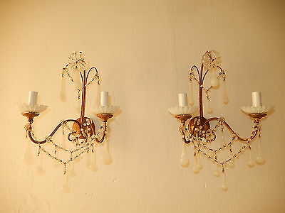 ~c 1920 French RARE White OPALINE Drops & Beads Murano Tole Gorgeous Sconces~