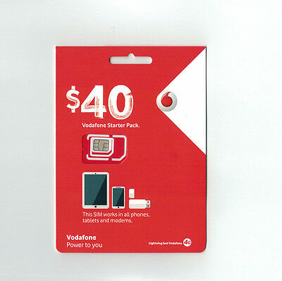 VODAFONE $40 SIM Prepaid Combo Starter Pack Unlimited Call/Text 5GB Data