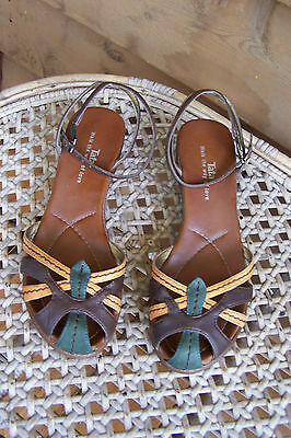 Vintage Style Brown Green&mustard Low Heel Sandals Shoes Size 6.5/37