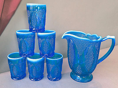 Westmoreland Scarce High High Hob Electric Blue Opalescent Glass Water Set 1978