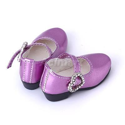 PAIR of Purple PU leather Mary Jane Shoes Heart Buckle for 1/4 BJD Doll MSD Doll