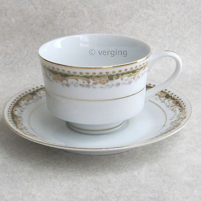 Signature Queen Anne Cup and Saucer Fine China Japan Gold Trim 113 MS Collection