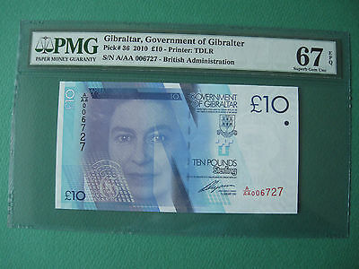 2010 Gibraltar Government 10 Pounds Aaa006~ S/n. Pmg 67 Epq Superb Gem Unc