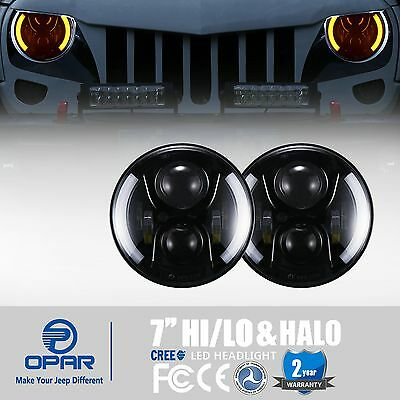 2x 7'' Round Hi/Lo LED Headlights DRL & Halo Angel Eyes for Jeep Wrangler JK TJ