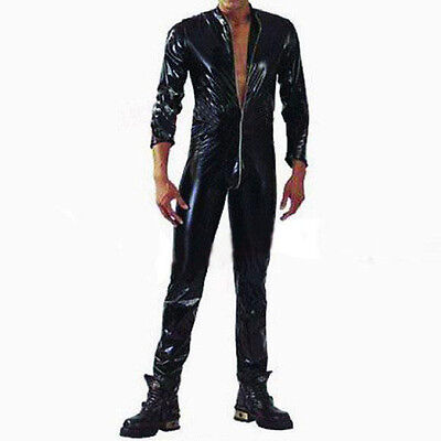 Sexy Mens Costume Wetlook Erotic Catsuit Adult Zipper Jumpsuit Bodysuit Clubwear
