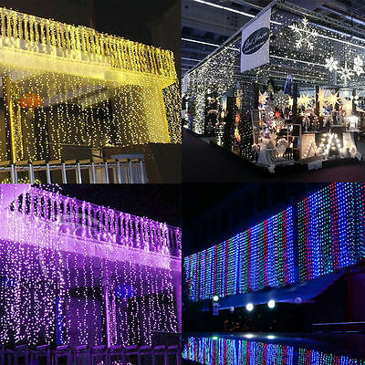 10M X 3M 1000LEDS Fairy Lights Curtain Lights String Net Wedding Christmas Party