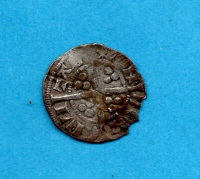Hammered Silver Halfpenny Coin. Edward Iii  1335 - 1343. Star On Reverse.