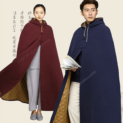 High Warm Cotton Lining Buddhist Lay Meditation Zen Monk Cloak Long Robe Gown