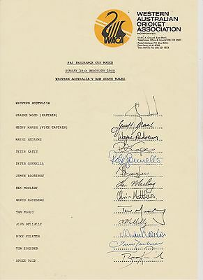 Western Australia 1989. Official autograph sheet with 8 test players