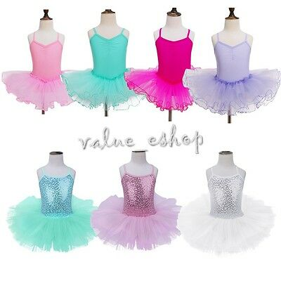 Girls Kids Tutu Ballet Leotard Dance Dress Ballerina Dancewear Costume Size 3-12